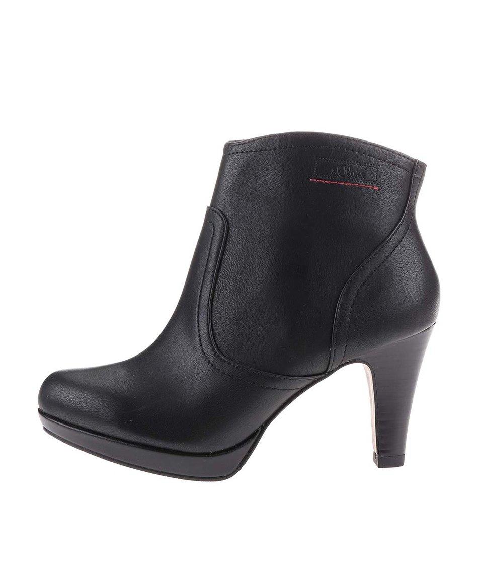 Černé dámské kotníkové boty na středním podpatku s.Oliver