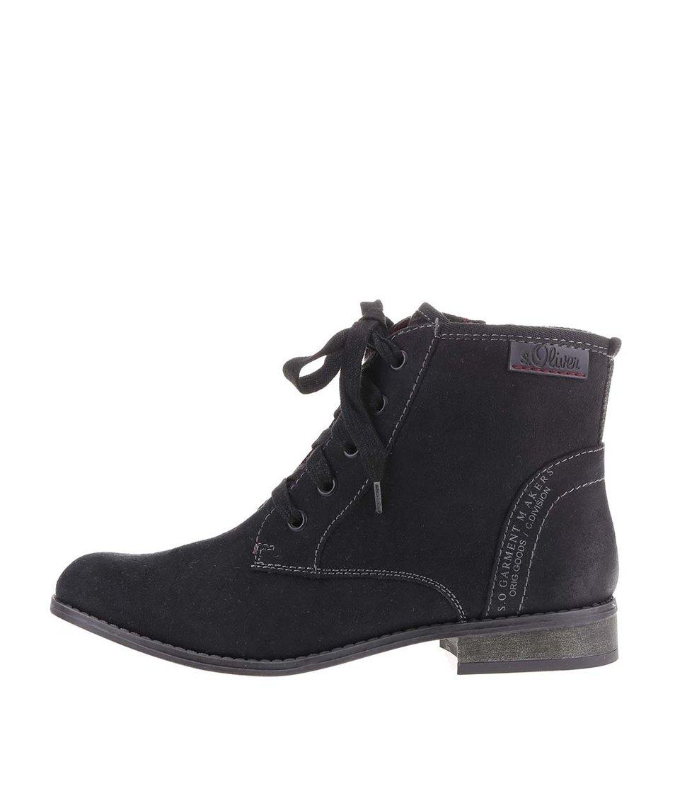 Černé dámské kotníkové boty se šněrováním s.Oliver