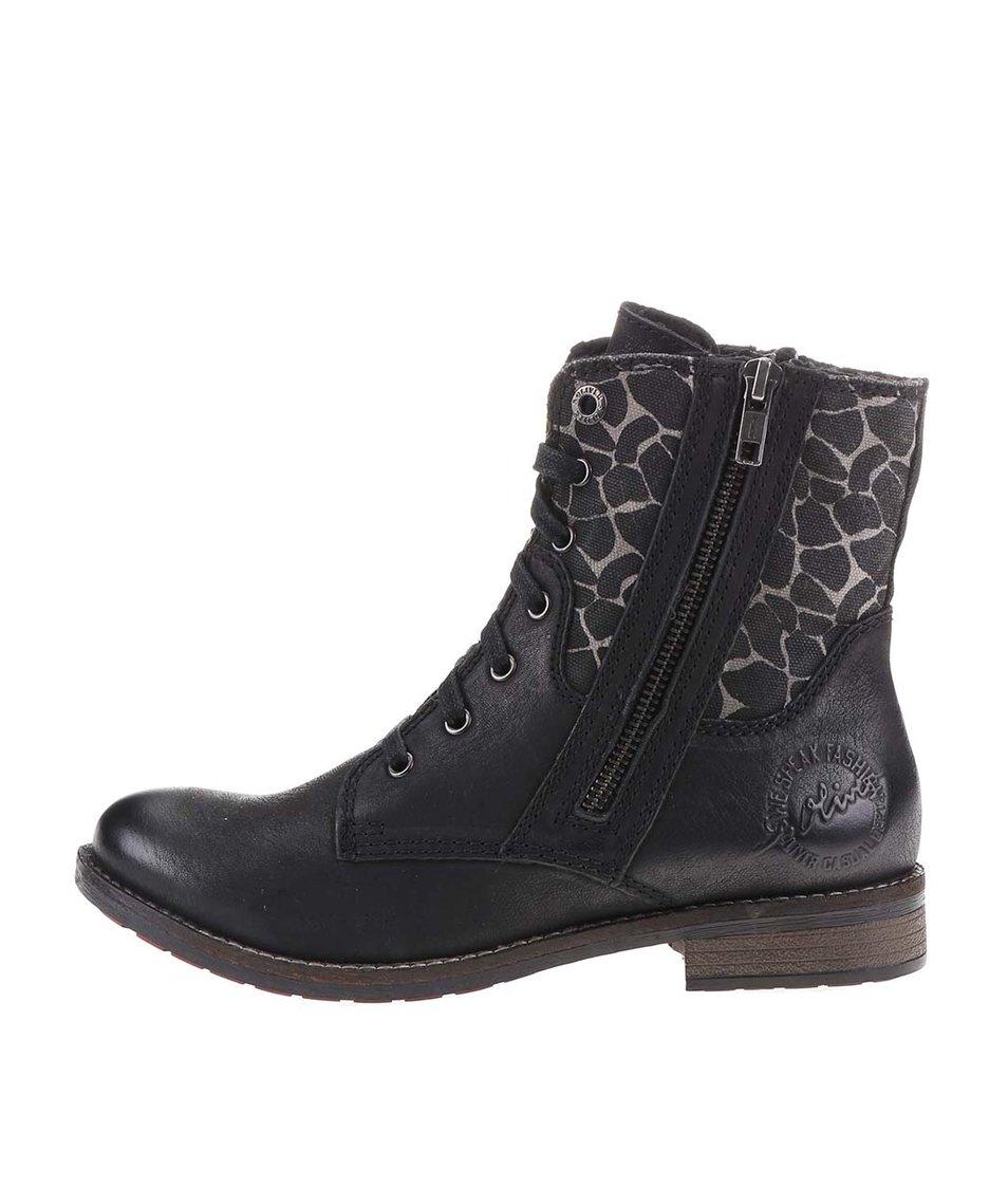 Černé dámské kožené boty se zvířecím vzorem s.Oliver