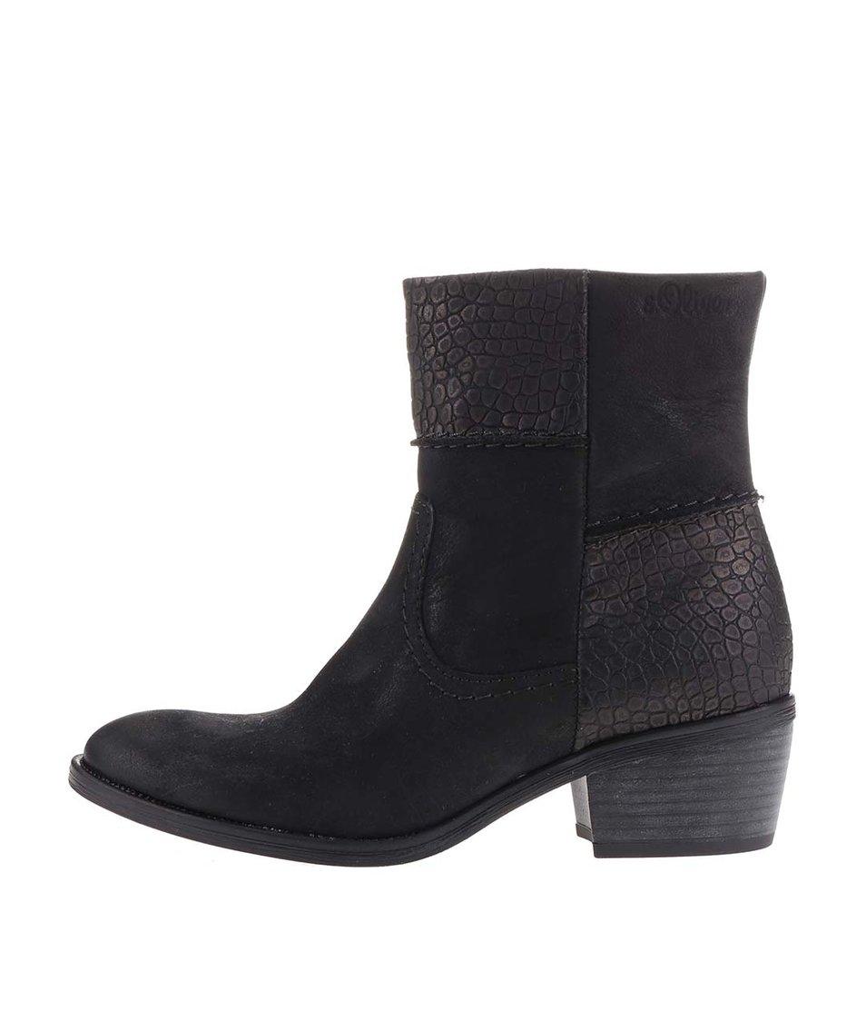 Černé dámské kožené nazouvací kotníkové boty s.Oliver