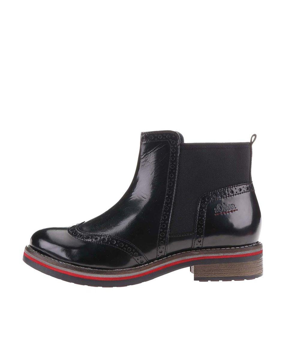 Černé dámské kožené kotníkové boty s brogue detaily s.Oliver