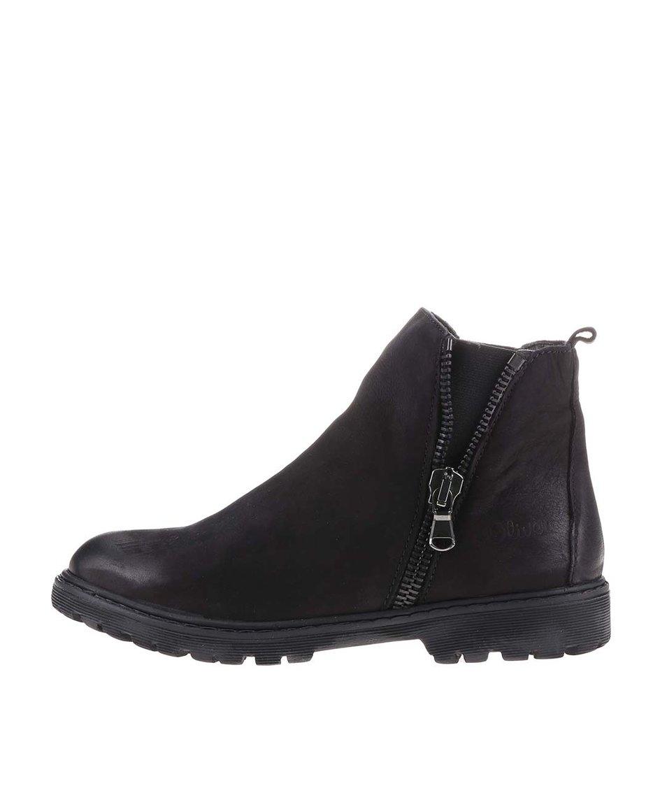 Černé dámské kožené boty s.Oliver