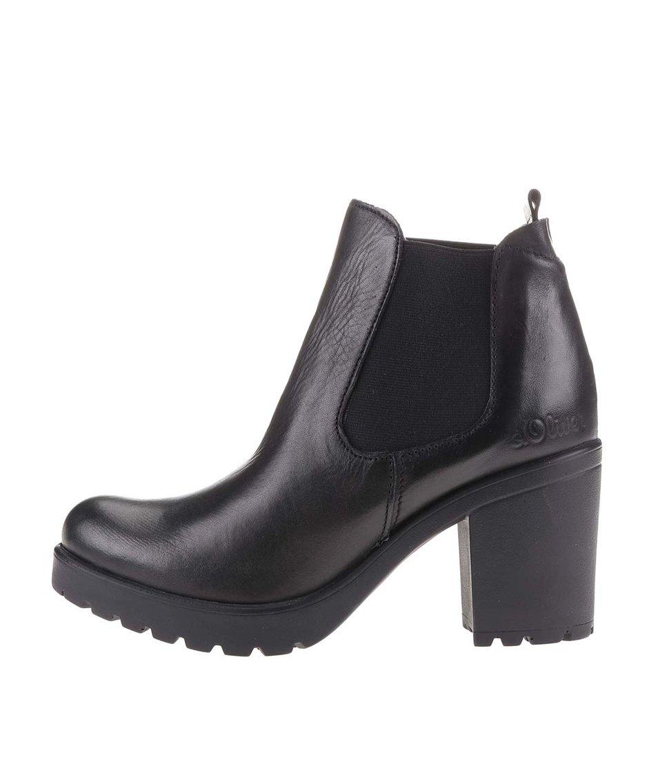 Černé dámské kožené chelsea boty na platformě s.Oliver