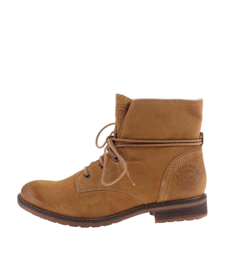 Hnědé dámské kožené kotníkové boty s.Oliver