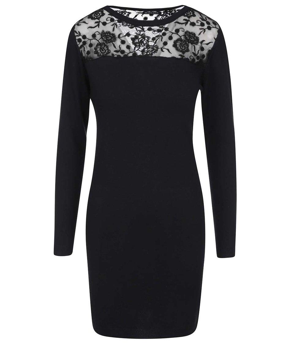Černé krajkové šaty s dlouhým rukávem Brave Soul