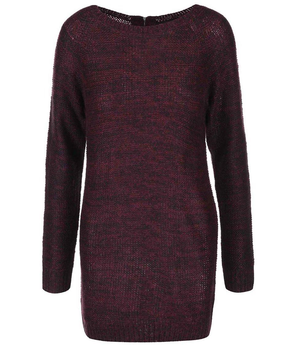 Černo-vínové pletené šaty s dlouhým rukávem Brave Soul