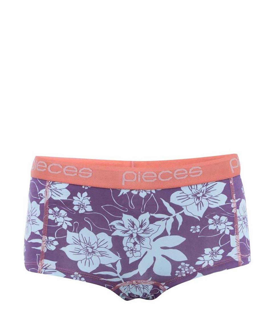 Korálovo-fialové květované boxerky Pieces Logo