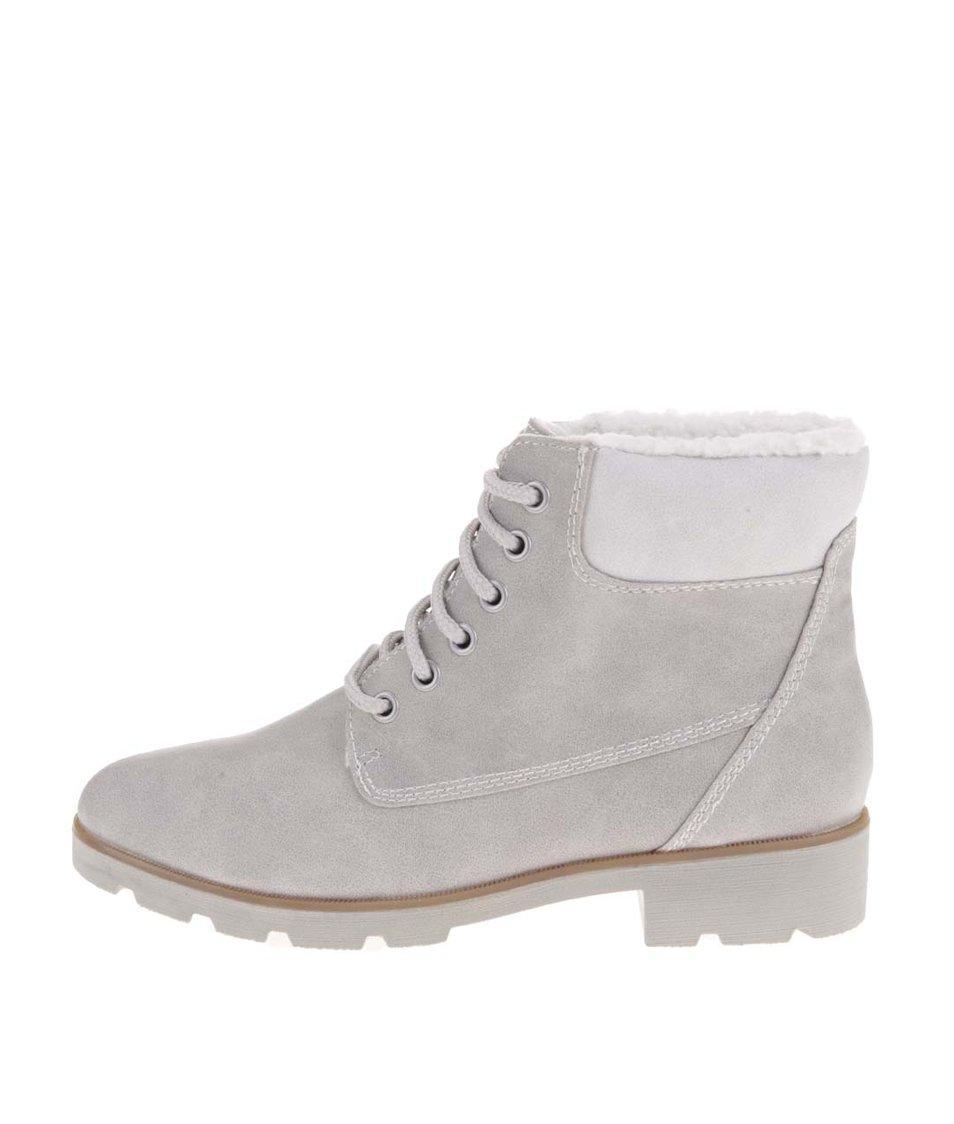Světle šedé kotníkové boty s kožíškem Tamaris