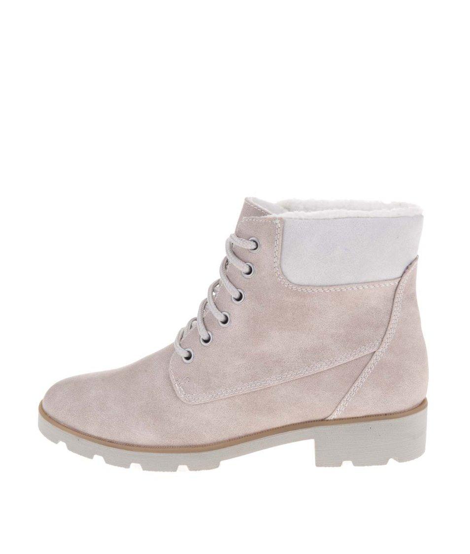 Béžové kotníkové boty s kožíškem Tamaris