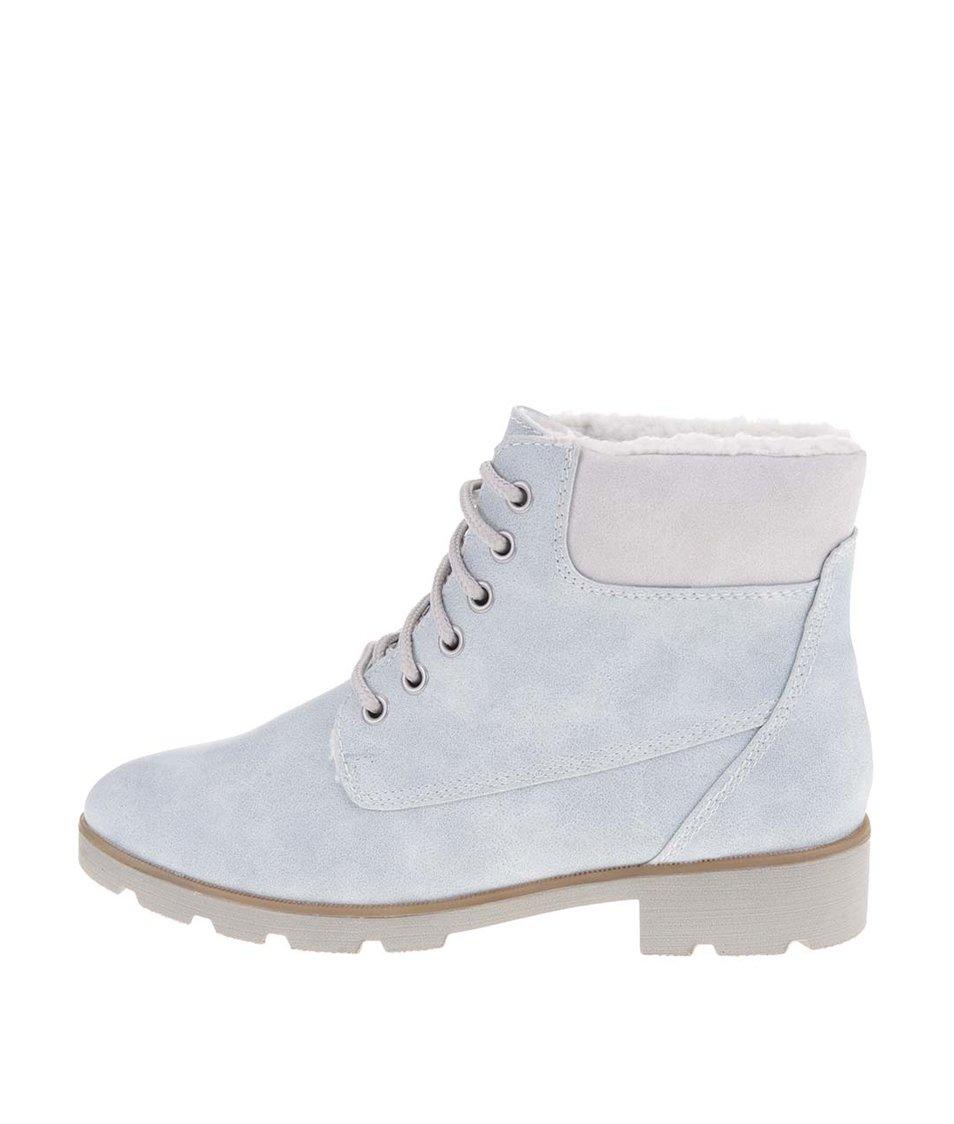 Světle modré kotníkové boty s kožíškem Tamaris
