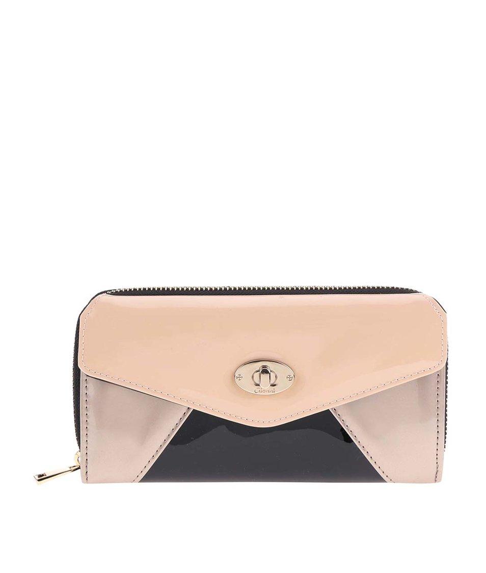 Béžovo-černá peněženka na zip Liberty by Gionni Elena