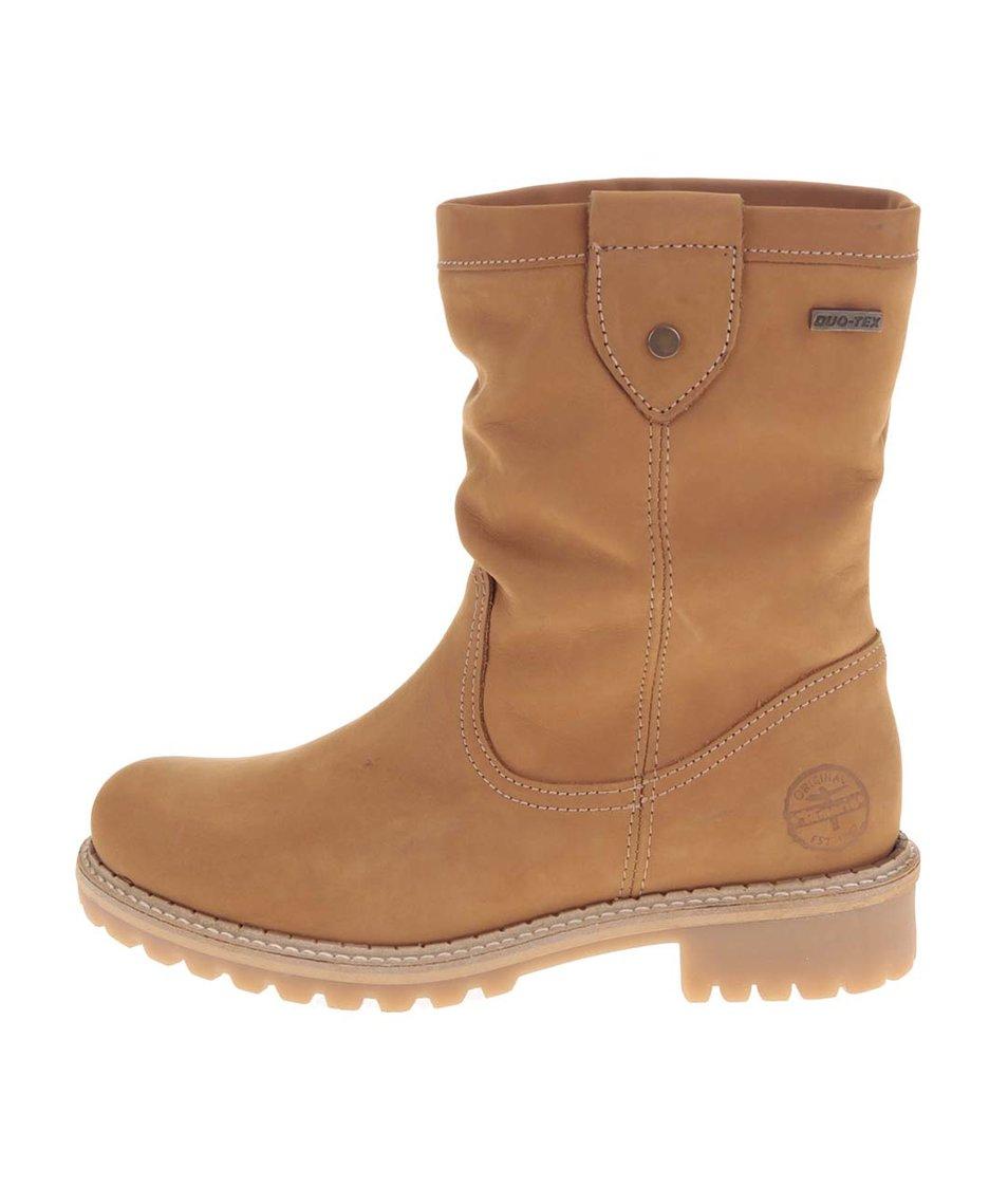 Hnědé kožené vyšší boty Tamaris