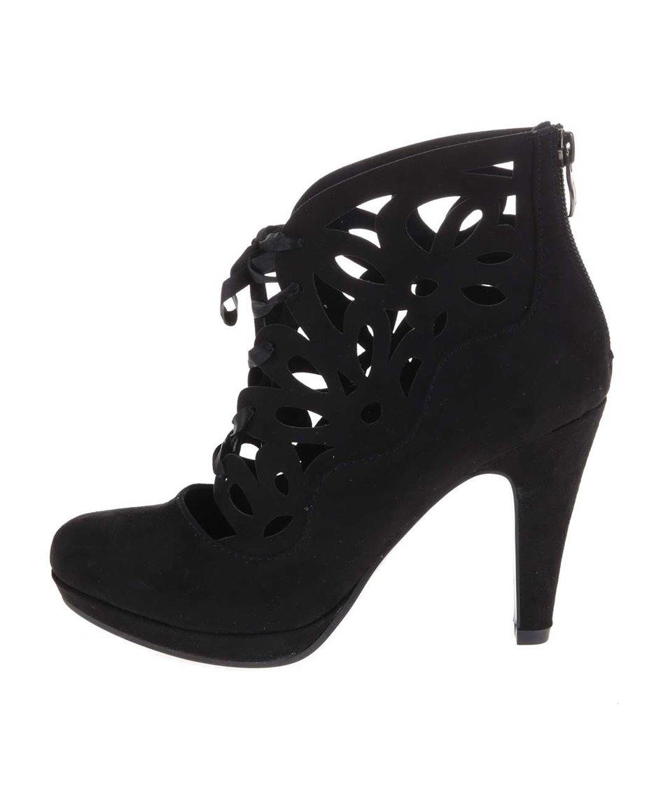 Černé šněrovací boty na podpatku Tamaris