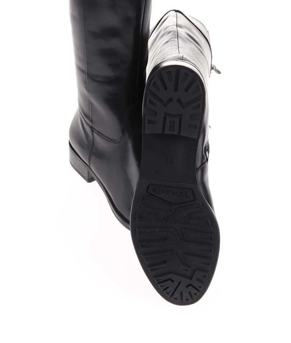 Černé kožené kozačky na nízkém podpatku Tamaris