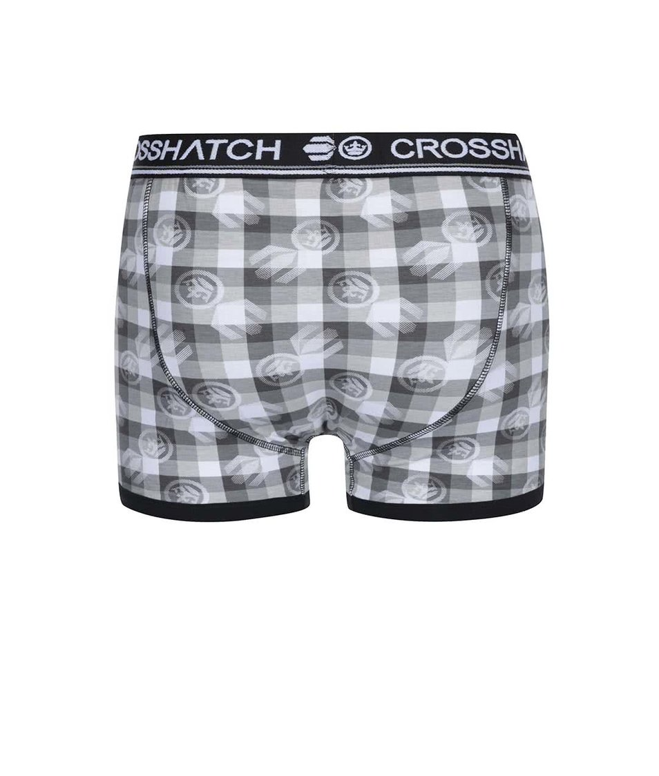 Sada dvou šedých boxerek s potiskem Crosshatch Pixflix