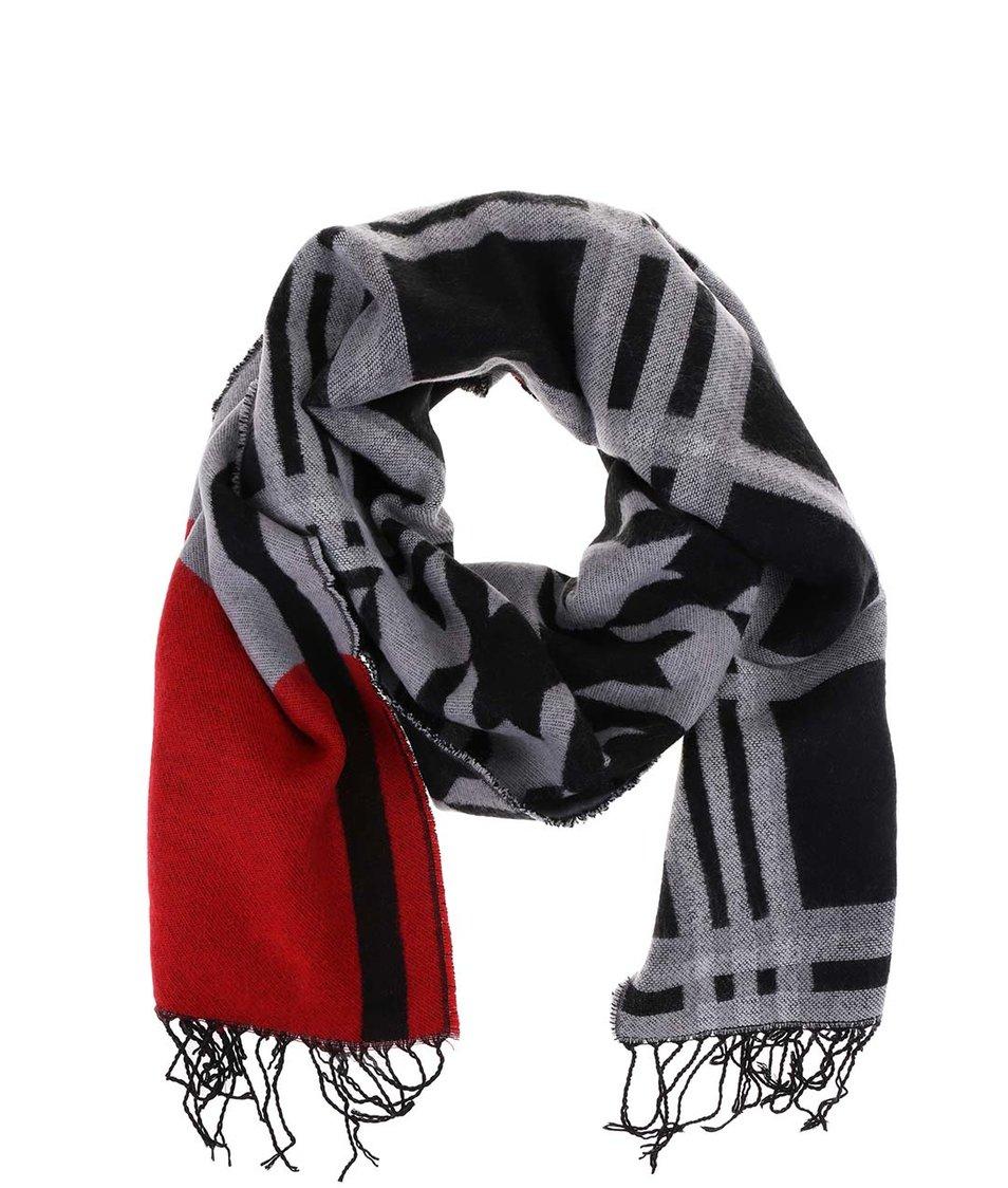 Šedo-červeno-černá károvaná šála s.Oliver
