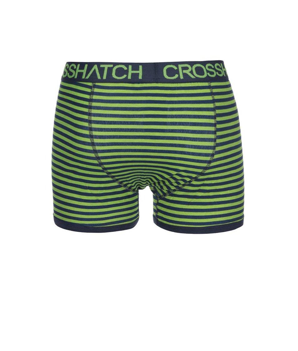 Sada dvou modro-zelených boxerek s pruhy Crosshatch Glowsync