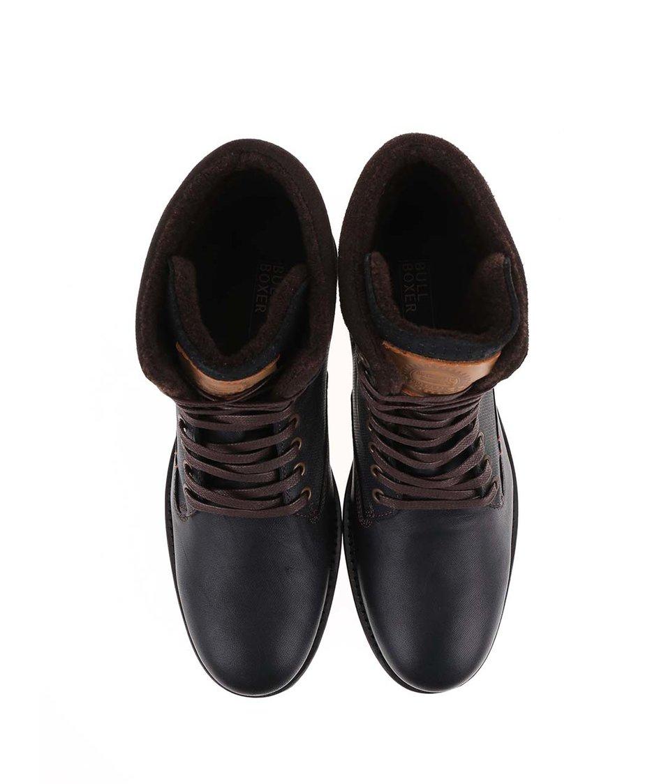 004f2a11717 Hnědo-černé pánské kožené kotníkové boty Bullboxer - Vánoční HIT ...