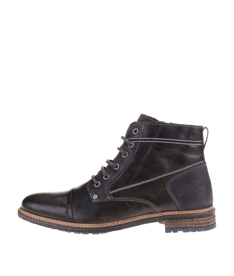 Šedohnědé pánské lesklé kožené kotníkové boty se zipem Bullboxer