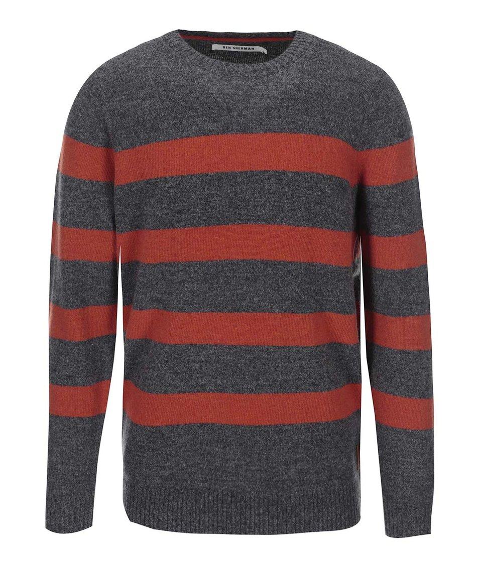 Šedý svetr s oranžovými pruhy Ben Sherman