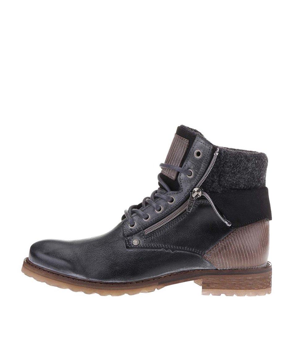 Tmavě šedé pánské kožené kotníkové boty se zipem Bullboxer