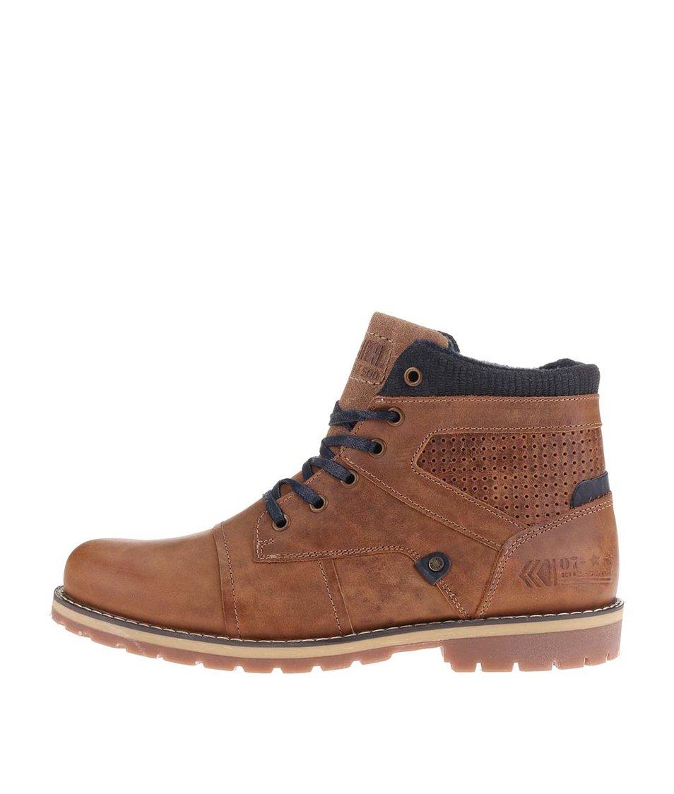 Modro-hnědé pánské kožené kotníkové boty s doplňky Bullboxer