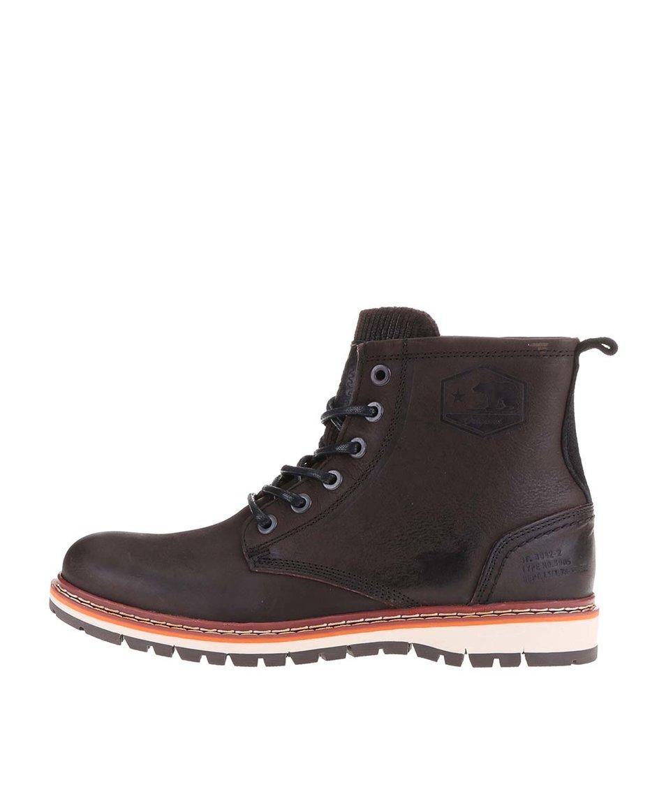Tmavě hnědé pánské kožené kotníkové boty s vyšší podrážkou Bullboxer