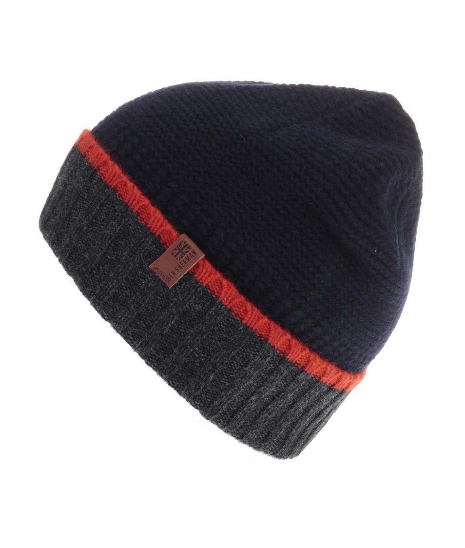 Tmavě modrá vlněná čepice s červeným proužkem Ben Sherman