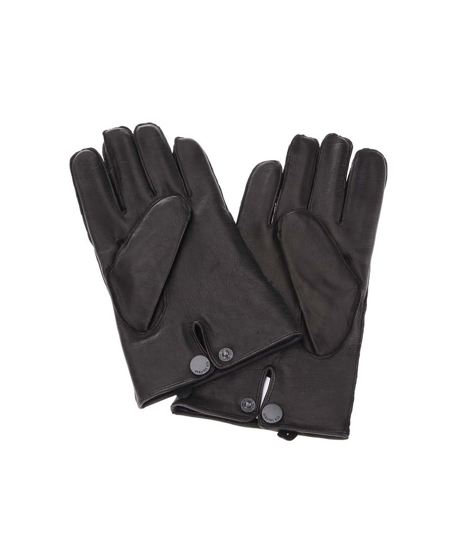 Černé kožené rukavice Ben Sherman