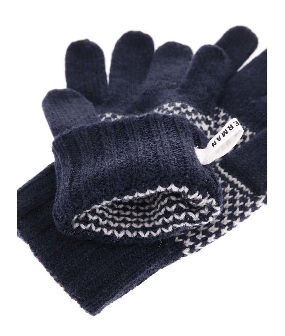 Tmavě modré vlněné rukavice se vzorem Ben Sherman