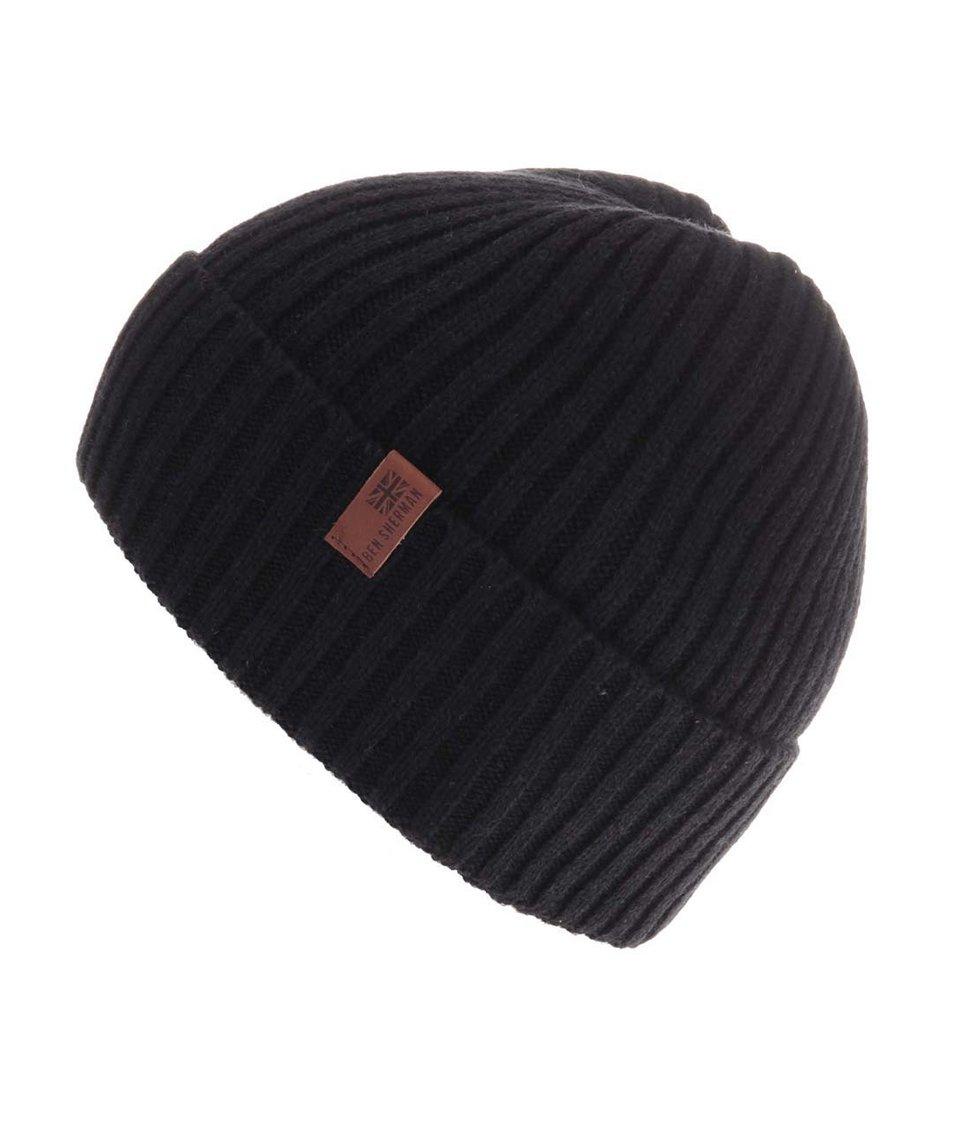 Černá vlněná čepice Ben Sherman