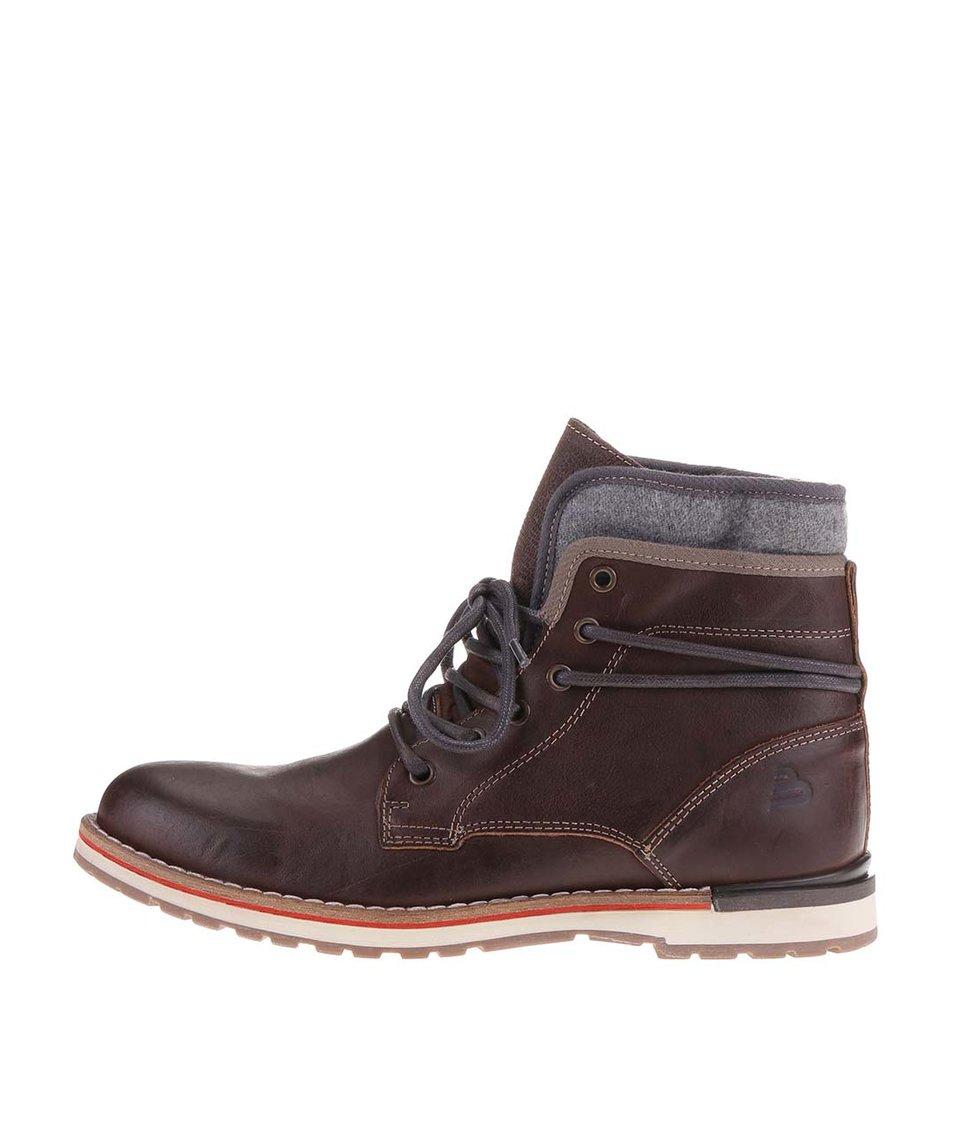 Tmavě hnědé pánské kožené kotníkové boty s šedými doplňky Bullboxer