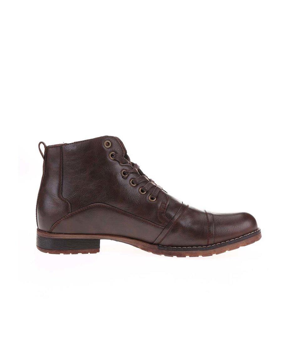 5d2b0f9820f Tmavě hnědé pánské kožené kotníkové boty Bullboxer Tmavě hnědé pánské  kožené kotníkové boty Bullboxer ...