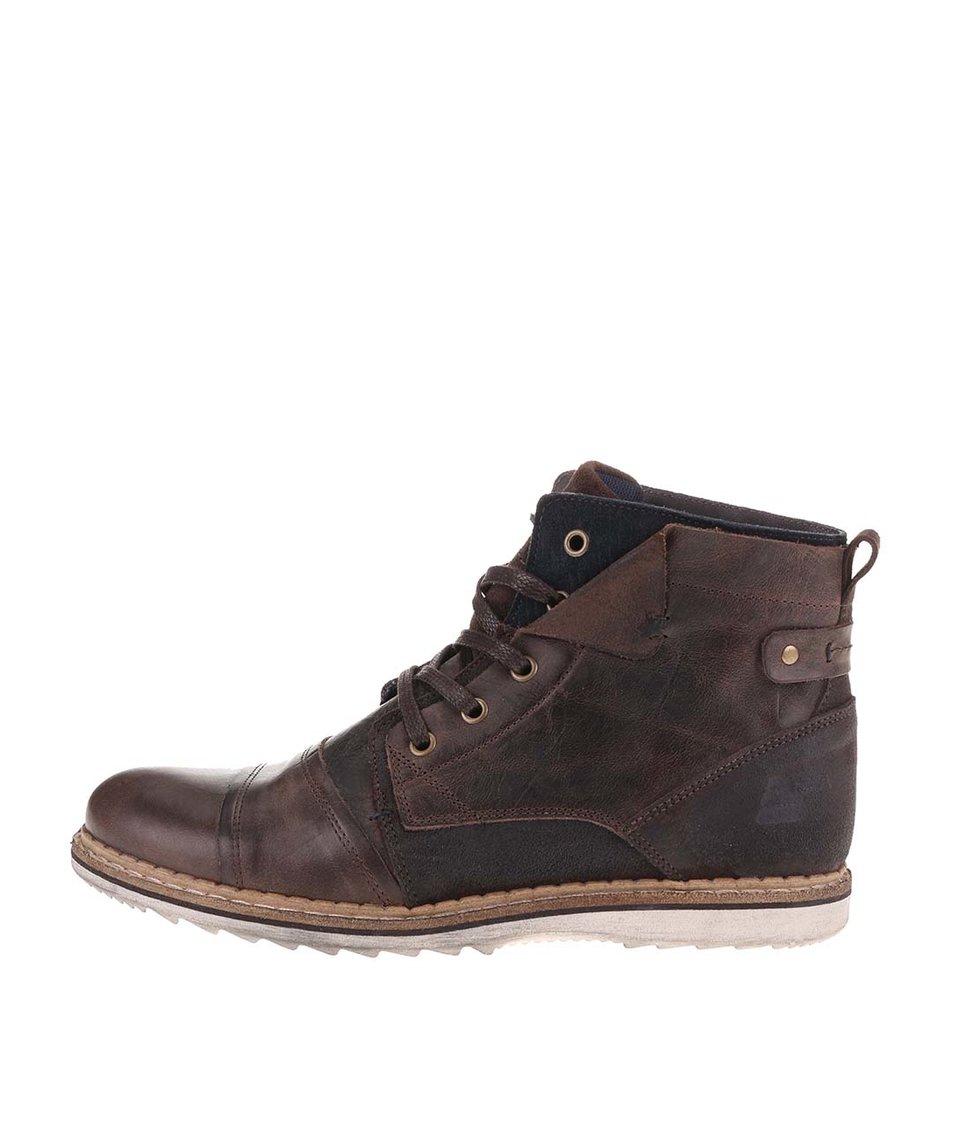 Tmavě hnědé pánské kožené kotníkové boty s detaily Bullboxer