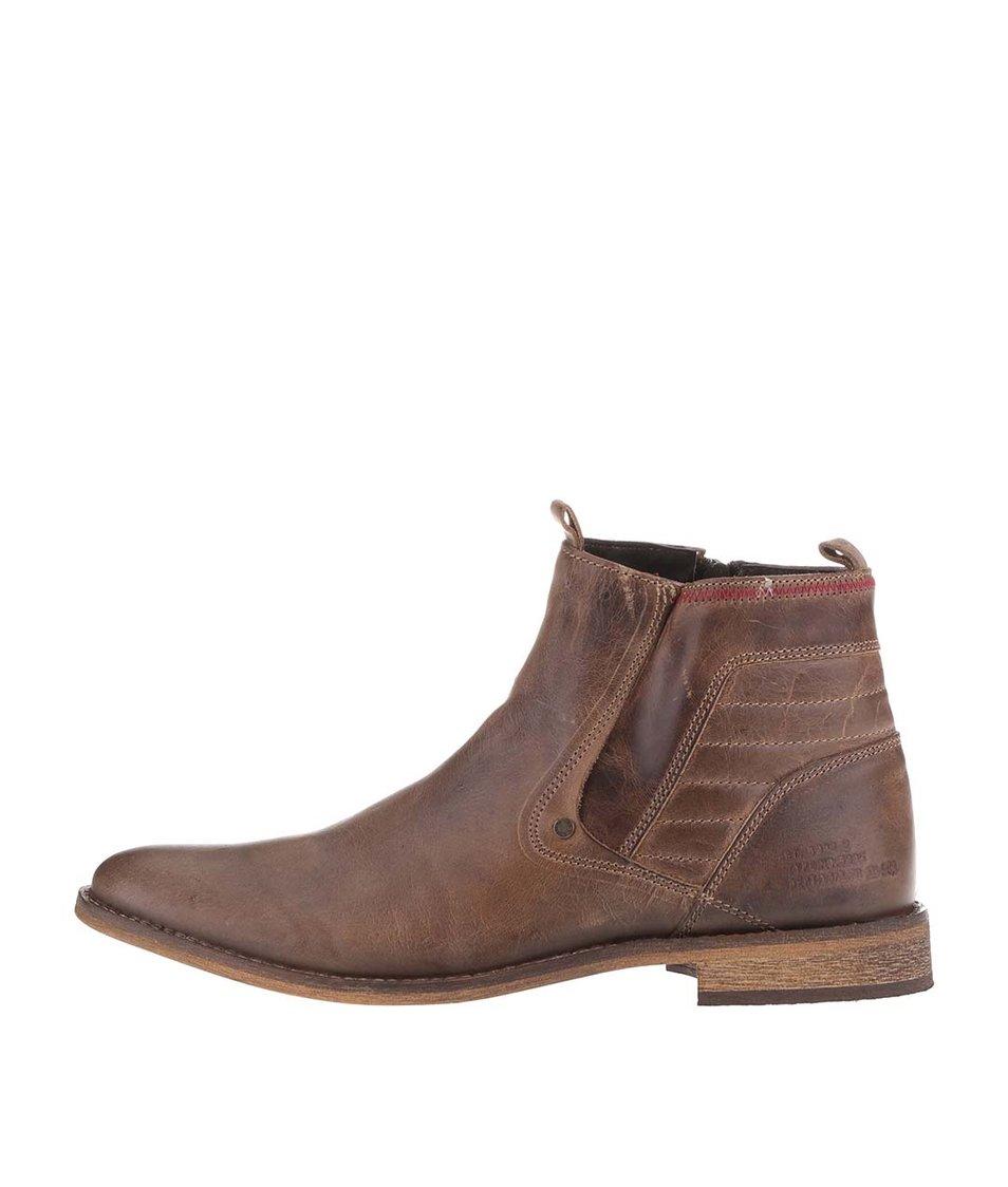 Šedohnědé pánské kožené kotníkové boty na zip Bullboxer