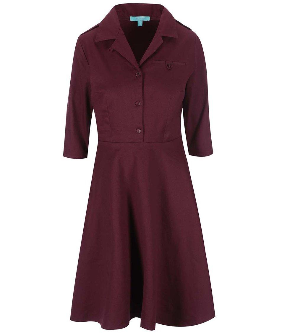 Vínové košilové šaty Fever London Monty