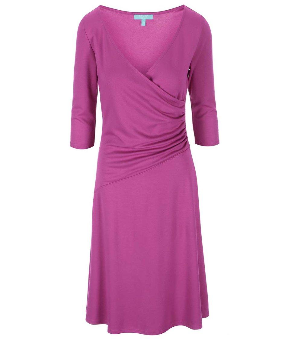Fuchsiové šaty s jemným řasením Fever London Bussell