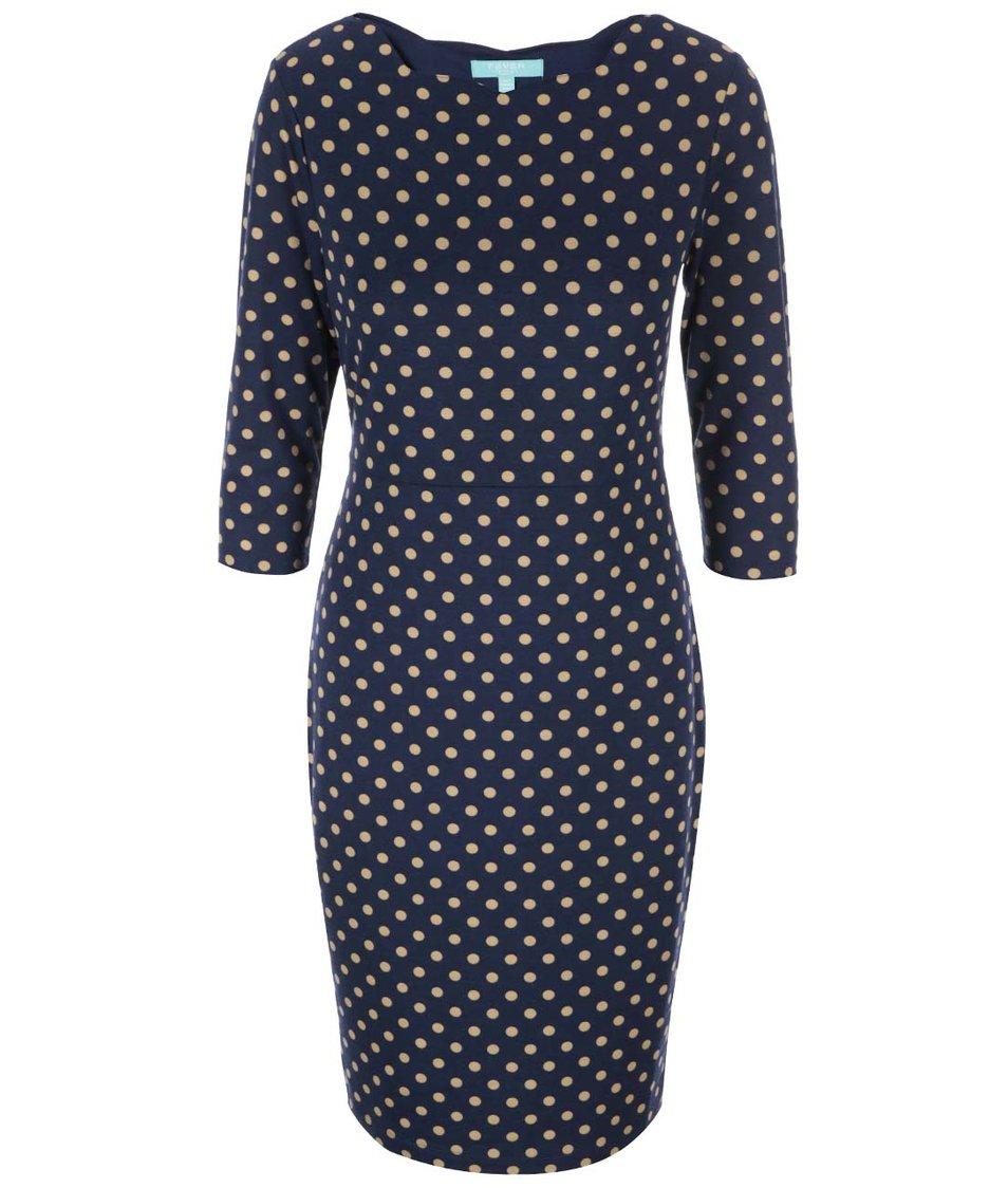 Tmavě modré pouzdrové šaty s béžovými puntíky Fever London Cara