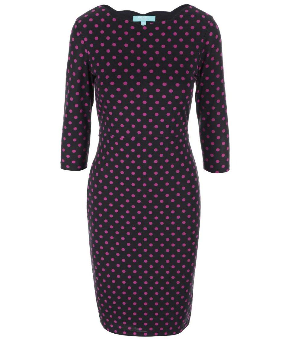 Černé pouzdrové šaty s fuchsiovými puntíky Fever London Cara