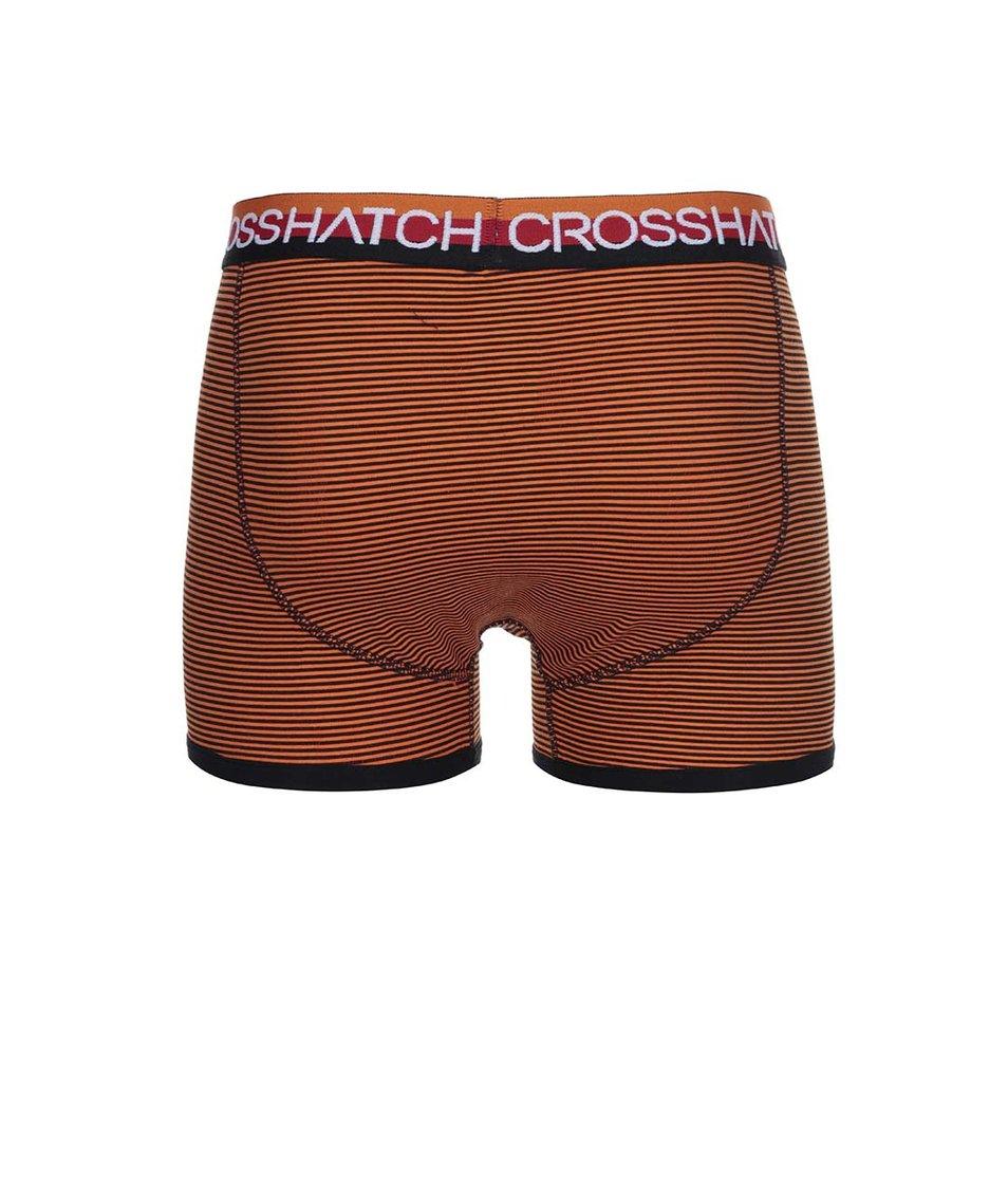 Sada tří černo-oranžových boxerek Crosshatch Tirian