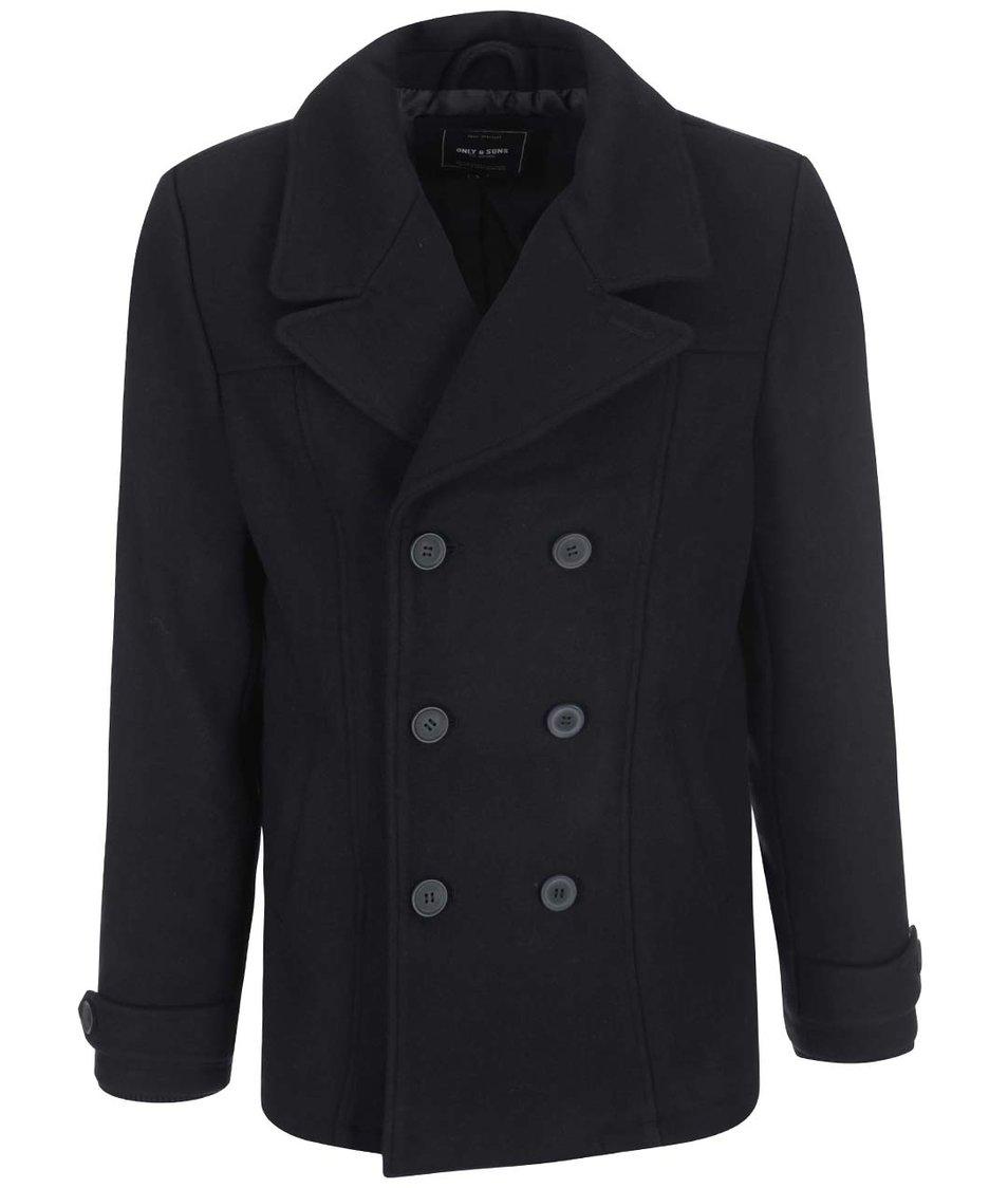 Černý vlněný kabát ONLY & SONS Todd
