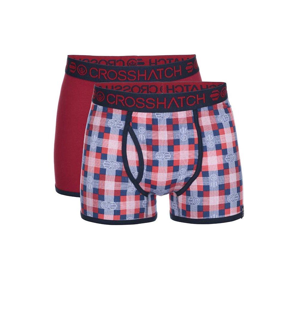 Sada dvou červených boxerek se vzorem Crosshatch Draughts