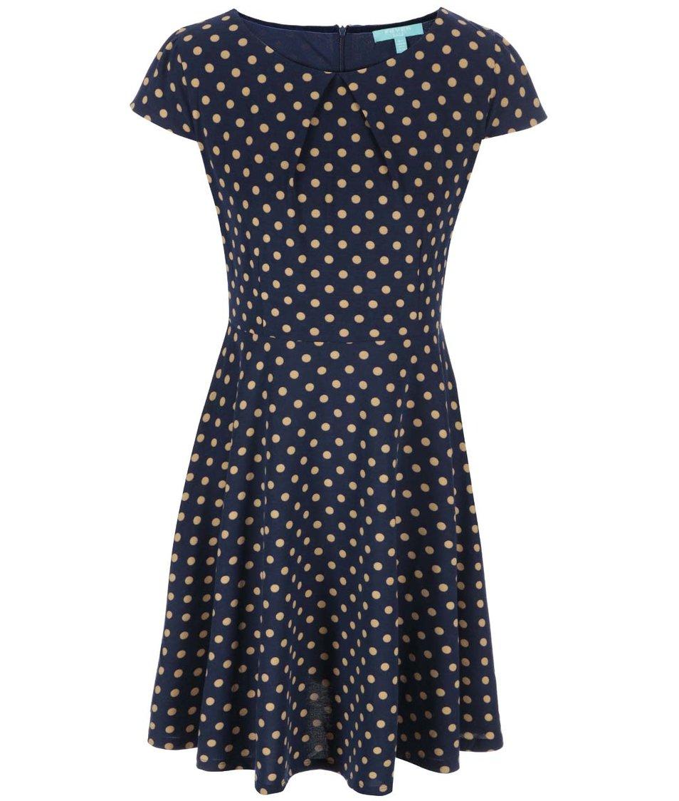 Tmavě modré šaty s béžovými puntíky Fever London Cara Flare
