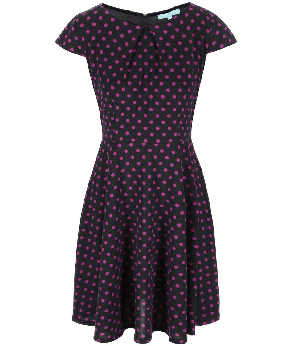Černé šaty s fuchsiovými puntíky Fever London Cara Flare