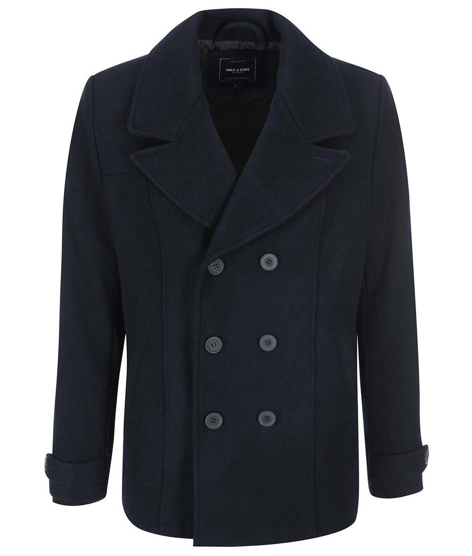 Tmavě modrý vlněný kabát ONLY & SONS Todd