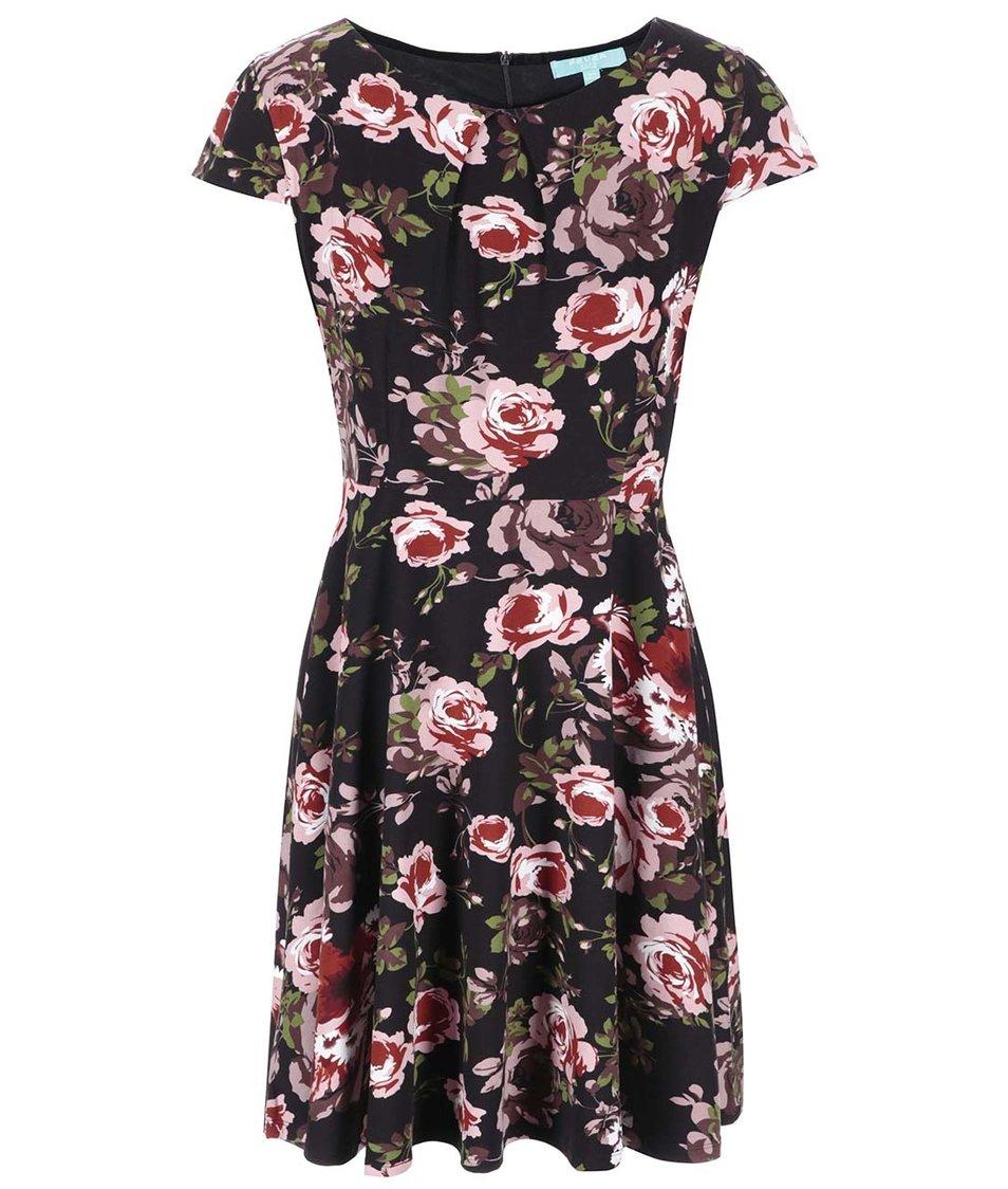 Černé květované šaty Fever London Guinevere Flare