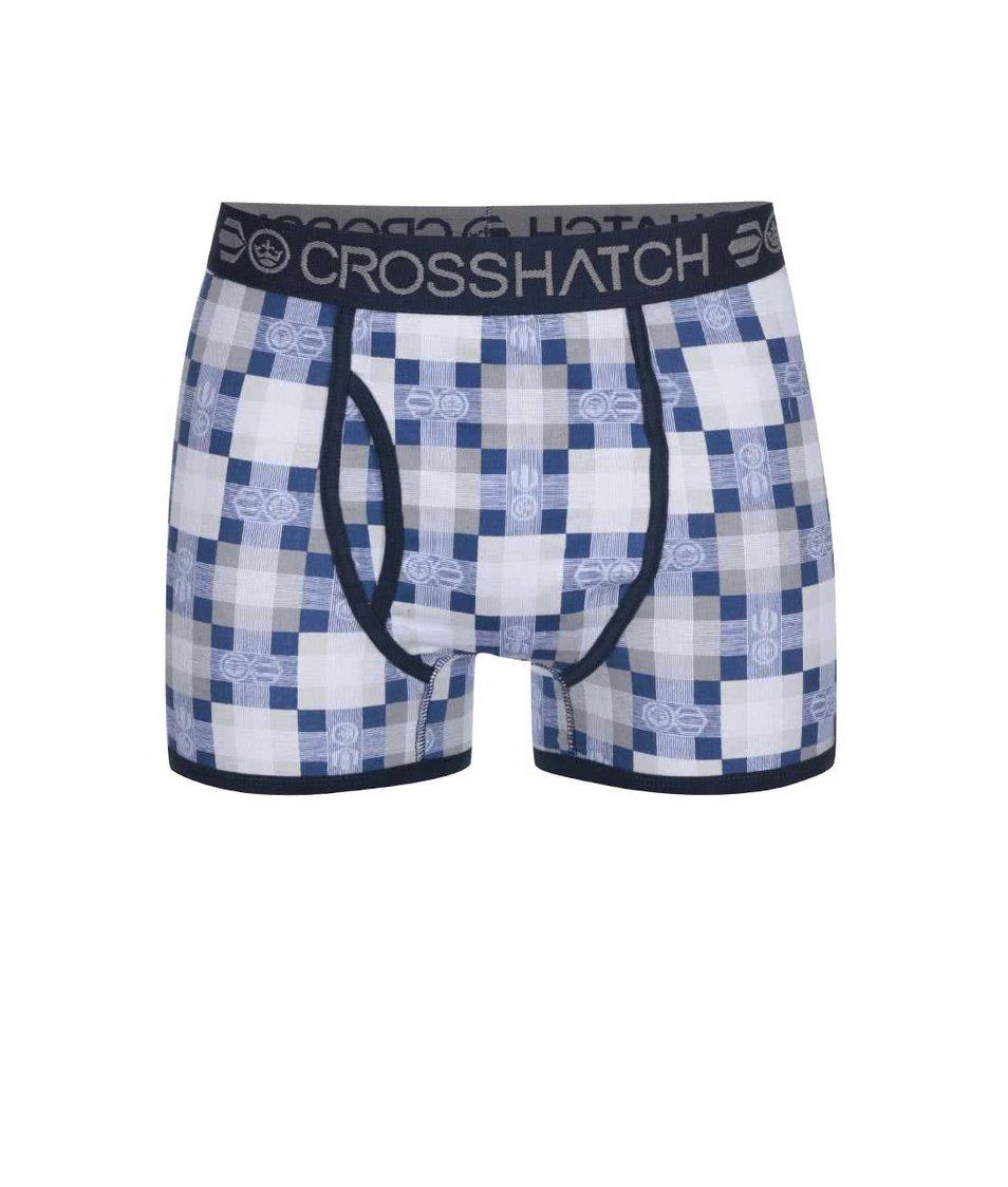 Sada dvou modro-šedých boxerek se vzorem Crosshatch Draughts