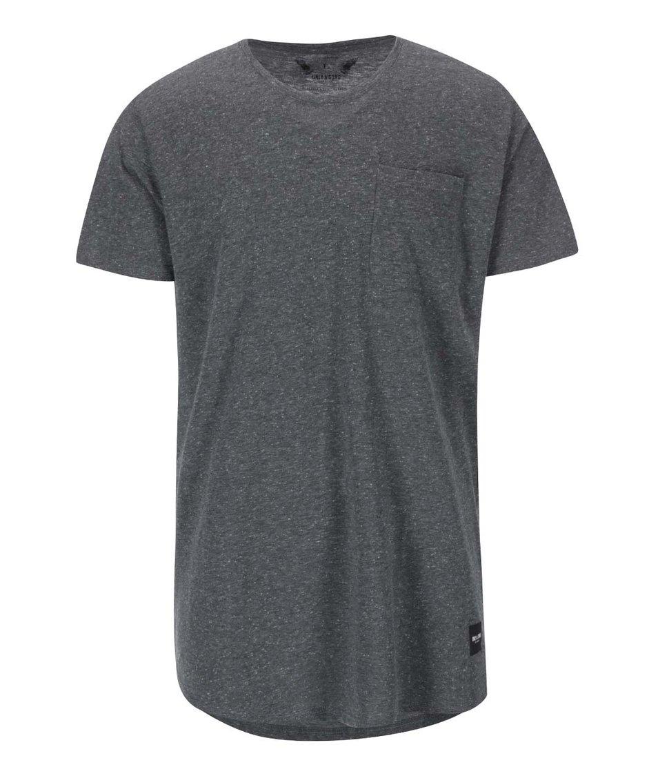 Tmavě šedé delší triko s kapsou ONLY & SONS Nappy