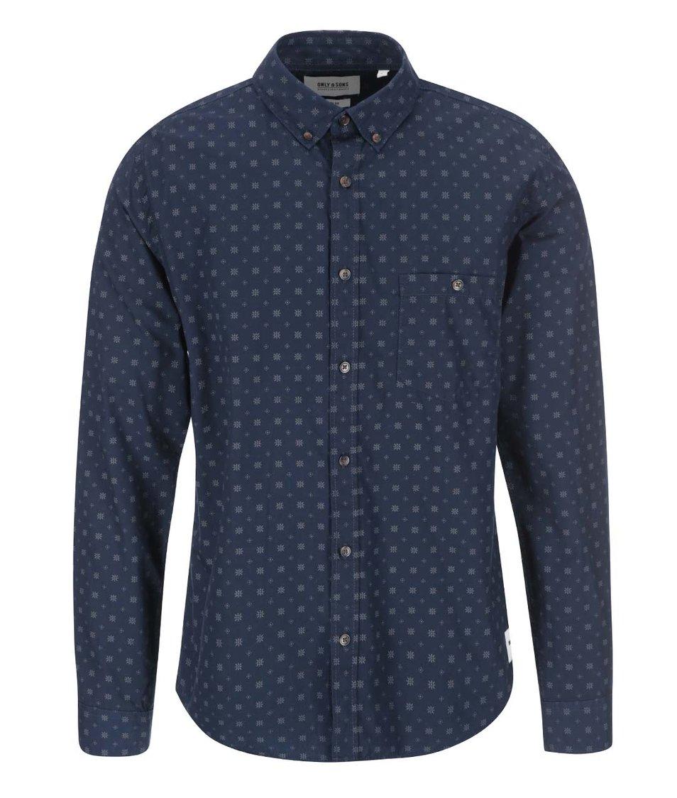 Tmavě modrá vzorovaná košile ONLY & SONS Wood