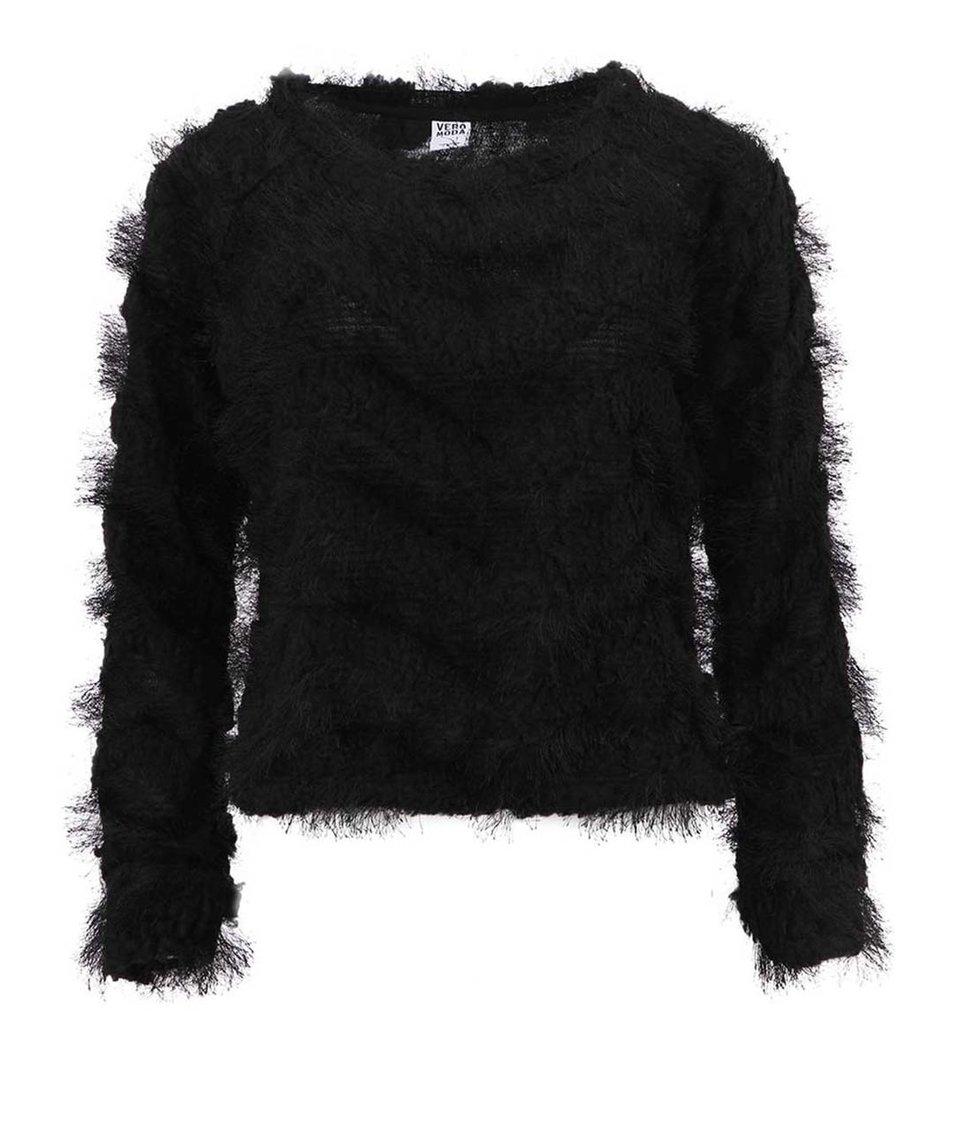Černý chlupatý svetr Vero Moda Hairy
